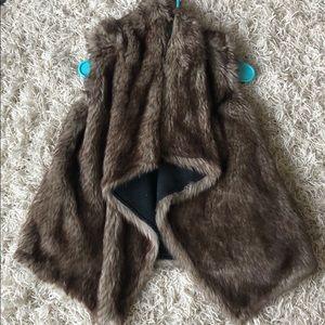 Brown Faux Fur Reversible Vest